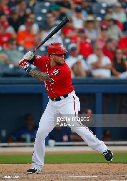 Brandon Snyder of the Washington Nationals in action during a spring training baseball game against the Houston Astros on March 12 2017 in West Palm...