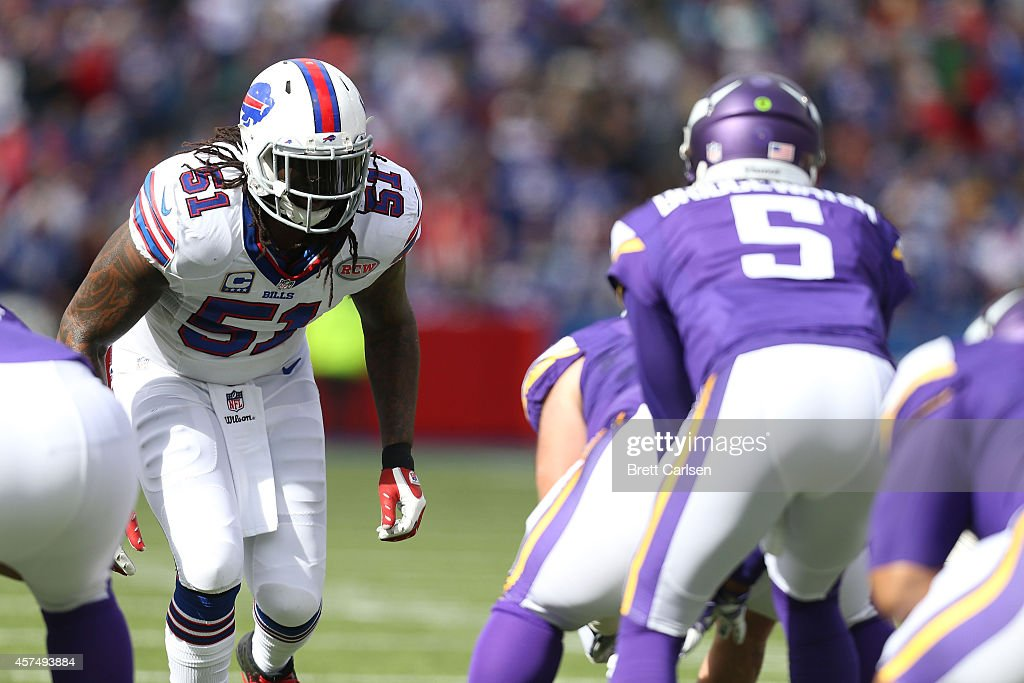 <a gi-track='captionPersonalityLinkClicked' href=/galleries/search?phrase=Brandon+Spikes&family=editorial&specificpeople=2972710 ng-click='$event.stopPropagation()'>Brandon Spikes</a> #51 of the Buffalo Bills lines up across from <a gi-track='captionPersonalityLinkClicked' href=/galleries/search?phrase=Teddy+Bridgewater&family=editorial&specificpeople=8281522 ng-click='$event.stopPropagation()'>Teddy Bridgewater</a> #5 of the Minnesota Vikings during the first half at Ralph Wilson Stadium on October 19, 2014 in Orchard Park, New York.