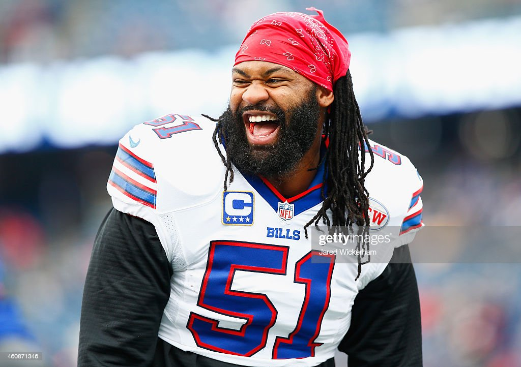 <a gi-track='captionPersonalityLinkClicked' href=/galleries/search?phrase=Brandon+Spikes&family=editorial&specificpeople=2972710 ng-click='$event.stopPropagation()'>Brandon Spikes</a> #51 of the Buffalo Bills warms up before a game against the New England Patriots at Gillette Stadium on December 28, 2014 in Foxboro, Massachusetts.