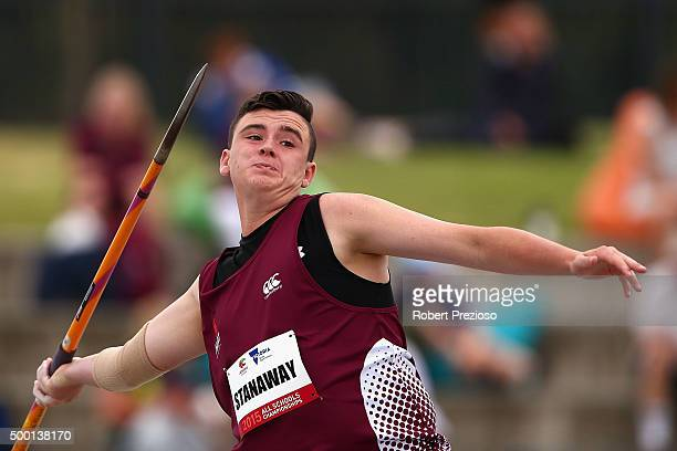 Brandon Stanaway of Queensland competes in Boys Javelin Throw Under 18 during the Australian All Schools Championships Zatopek10 at Lakeside Stadium...