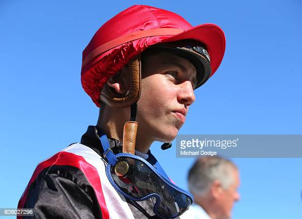 Brandon Stockdale returns to scale after winning on Poppy Talk in Latrobe City BM64 Handicap at Traralgon Racecourse on November 27 2016 in Traralgon...