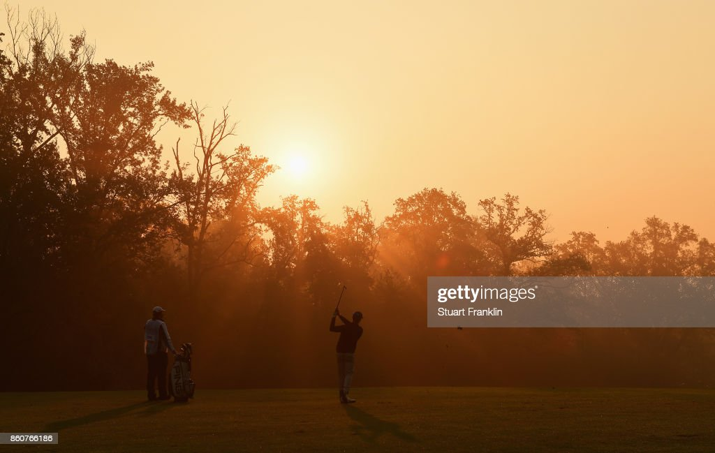 Brandon Stone of South Africa plays a shot during day two of the Italian Open at Golf Club Milano - Parco Reale di Monza on October 13, 2017 in Monza, Italy.