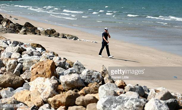 Brandon Stone of South Africa walks onto the beach to play his second shot on the 12th hole during the final round of the NBO Golf Classic Grand...