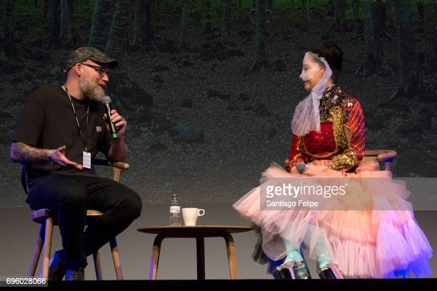 Brandon Stosuy and Bjork onstage during Sonar Music Festival 2017 QA on June 14 2017 in Barcelona Spain