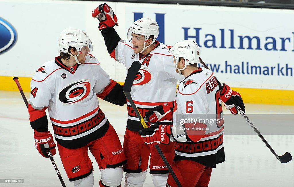 Brandon Sutter #16 of the Carolina Hurricanes celebrates with his team mates a goal against the Boston Bruins at the TD Garden on February 2, 2012 in Boston, Massachusetts.