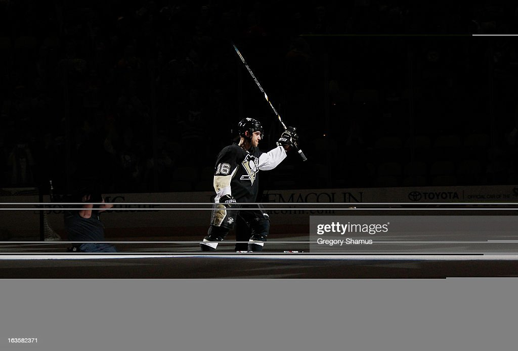 <a gi-track='captionPersonalityLinkClicked' href=/galleries/search?phrase=Brandon+Sutter&family=editorial&specificpeople=2086411 ng-click='$event.stopPropagation()'>Brandon Sutter</a> #16 of the Pittsburgh Penguins acknowledges the crowd after being named the first star of the game after a 3-2 win over the Boston Bruins on March 12, 2013 at Consol Energy Center in Pittsburgh, Pennsylvania.
