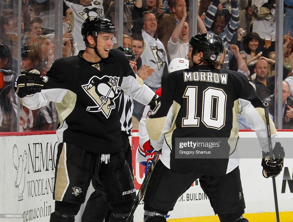 <a gi-track='captionPersonalityLinkClicked' href=/galleries/search?phrase=Brandon+Sutter&family=editorial&specificpeople=2086411 ng-click='$event.stopPropagation()'>Brandon Sutter</a> #16 of the Pittsburgh Penguins celebrates his second goal of the game with <a gi-track='captionPersonalityLinkClicked' href=/galleries/search?phrase=Brenden+Morrow&family=editorial&specificpeople=202256 ng-click='$event.stopPropagation()'>Brenden Morrow</a> #10 during the second period against the Montreal Canadiens on April17, 2013 at Consol Energy Center in Pittsburgh, Pennsylvania.