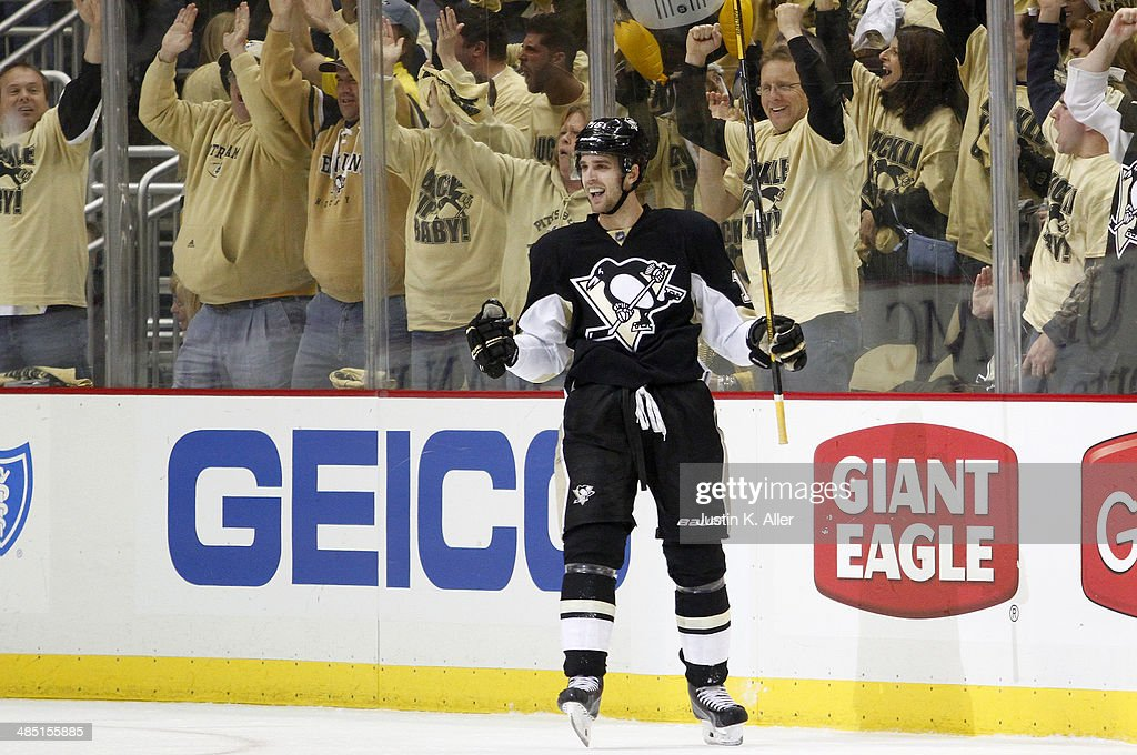 Brandon Sutter of the Pittsburgh Penguins celebrates his third period goal against the Columbus Blue Jackets in Game One of the First Round of the...