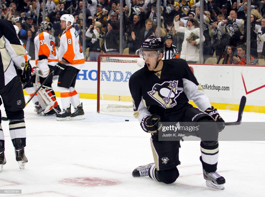 Brandon Sutter #16 of the Pittsburgh Penguins celebrates the game-tying goal in the third period against the Philadelphia Flyers during the game at Consol Energy Center on February 20, 2013 in Pittsburgh, Pennsylvania. The Flyers defeated the Penguins 6-5.