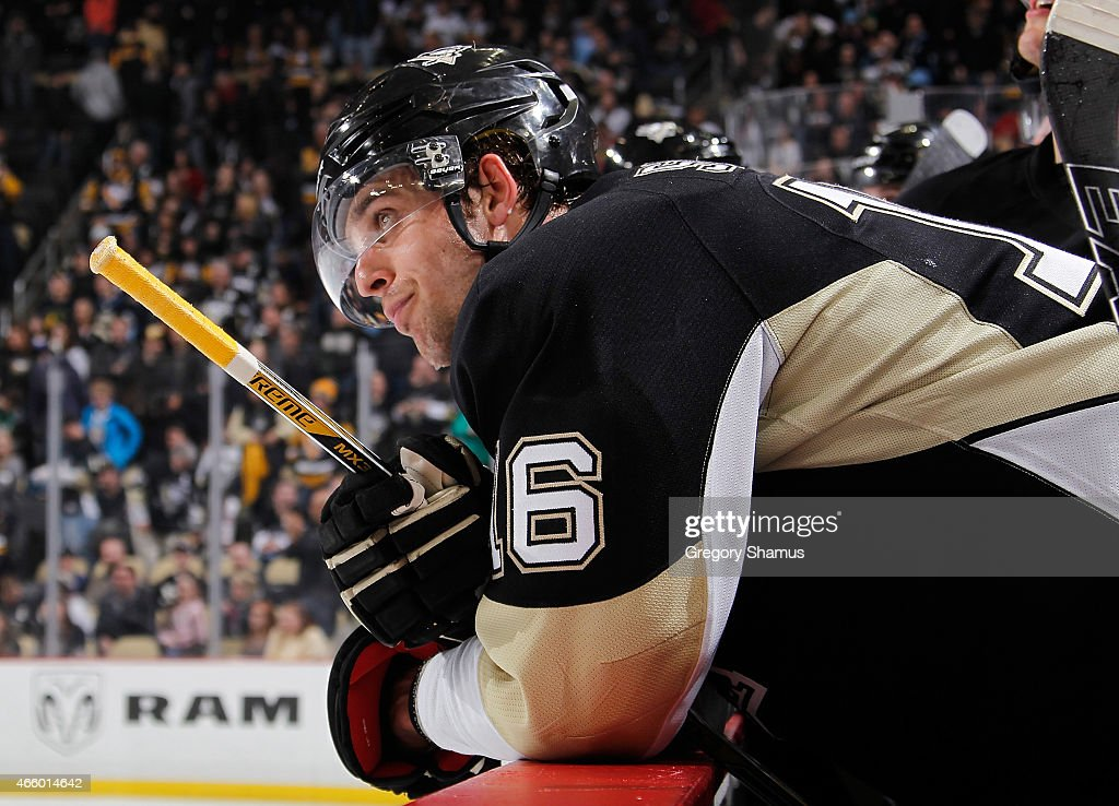 Brandon Sutter of the Pittsburgh Penguins looks on from the bench during the third period against the Edmonton Oilers at Consol Energy Center on...