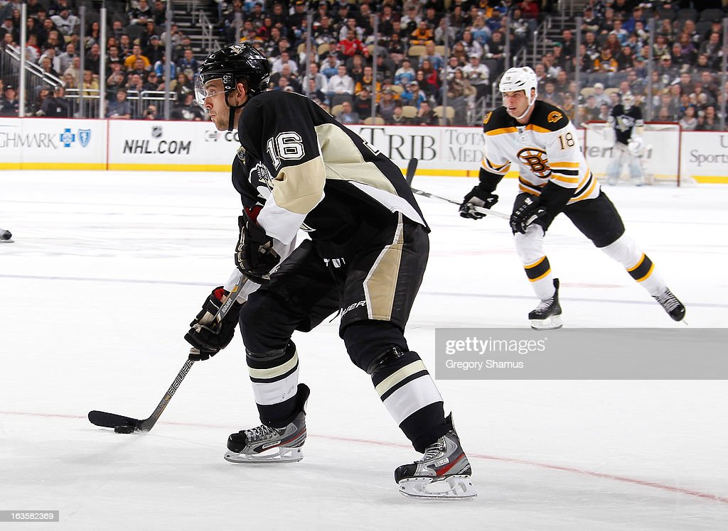 <a gi-track='captionPersonalityLinkClicked' href=/galleries/search?phrase=Brandon+Sutter&family=editorial&specificpeople=2086411 ng-click='$event.stopPropagation()'>Brandon Sutter</a> #16 of the Pittsburgh Penguins looks to shoot the puck prior to his game-winning goal against the Boston Bruins on March 12, 2013 at Consol Energy Center in Pittsburgh, Pennsylvania. Pittsburgh won the game 3-2.