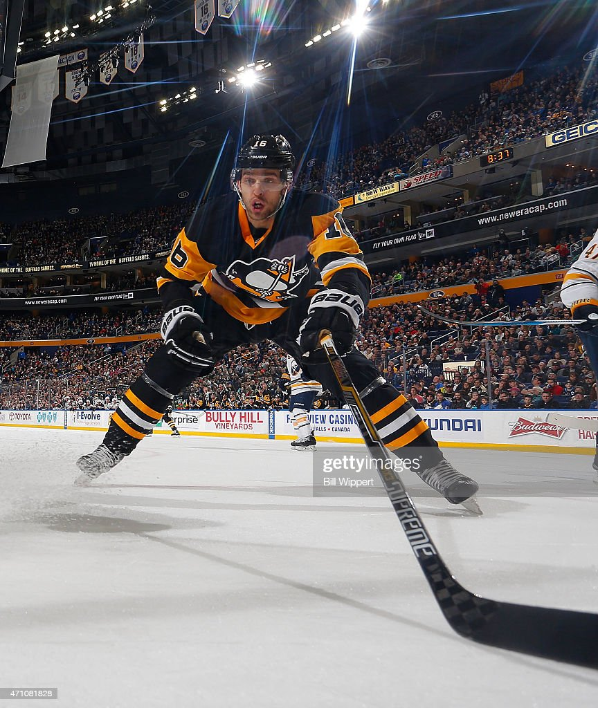 Brandon Sutter of the Pittsburgh Penguins skates against the Buffalo Sabres on April 11 2015 at the First Niagara Center in Buffalo New York