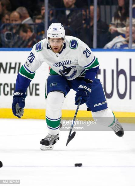 Brandon Sutter of the Vancouver Canucks during the game against the Buffalo Sabres at the KeyBank Center on October 20 2017 in Buffalo New York