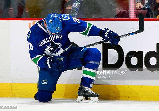 Brandon Sutter of the Vancouver Canucks pumps his fist after scoring in overtime against the Carolina Hurricanes during their NHL game at Rogers...