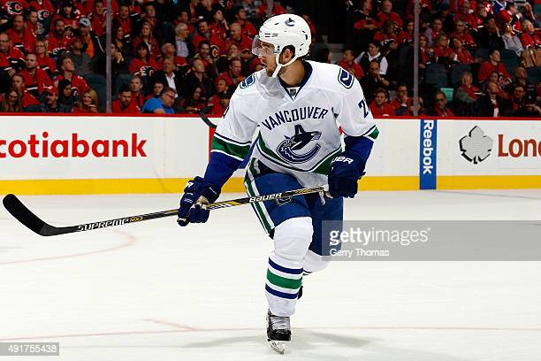 Brandon Sutter of the Vancouver Canucks skates against the Calgary Flames at Scotiabank Saddledome during the NHL season opener on October 7 2015 in...