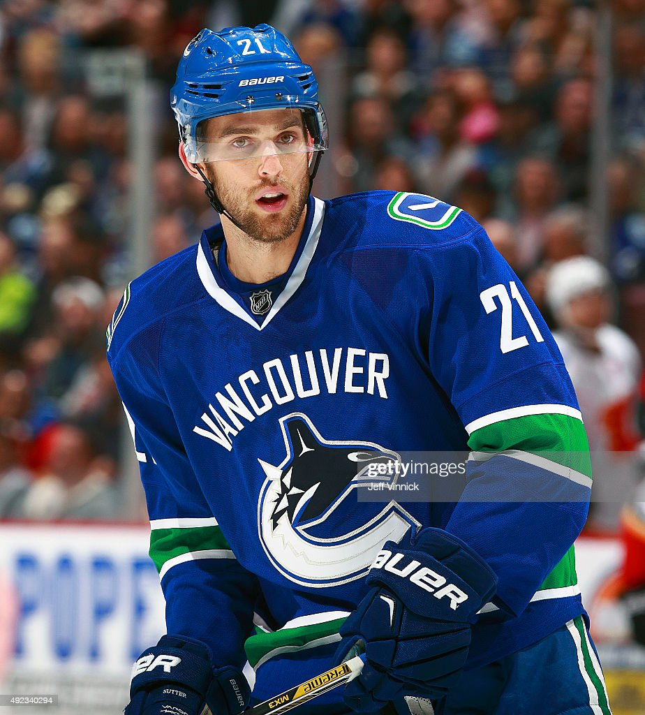 Brandon Sutter of the Vancouver Canucks skates up ice during their NHL game against the Calgary Flames at Rogers Arena October 10 2015 in Vancouver...