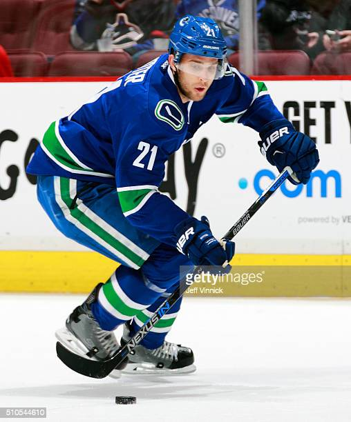 Brandon Sutter of the Vancouver Canucks skates up ice during their NHL game against the Columbus Blue Jackets at Rogers Arena February 4 2016 in...