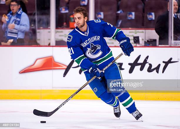 Brandon Sutter of the Vancouver Canucks skates with the puck in the pregame warm up prior to NHL action against the Calgary Flames on October 10 2015...
