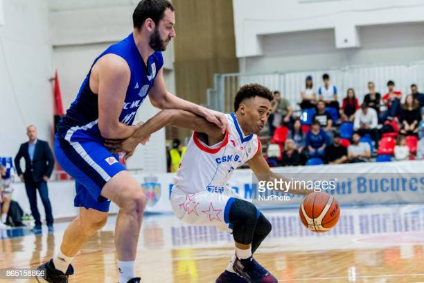 Brandon Taylor and Szabolcs Santa during the LNBM Men's National Basketball League game between CSM Steaua Bucharest and BC Mures TarguMures at Sala...