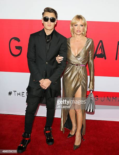 Brandon Thomas Lee and Pamela Anderson attend the premiere of Open Road Films' 'The Gunman' at Regal Cinemas LA Live on March 12 2015 in Los Angeles...