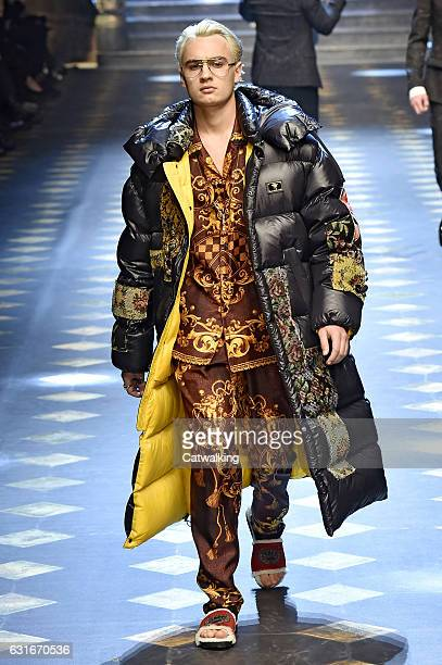 Brandon Thomas Lee walks the runway at the Dolce Gabbana Autumn Winter 2017 fashion show during Milan Menswear Fashion Week on January 14 2017 in...