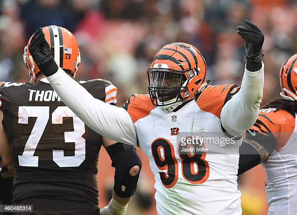 Brandon Thompson of the Cincinnati Bengals celebrates after sacking Johnny Manziel of the Cleveland Browns during the third quarter at FirstEnergy...