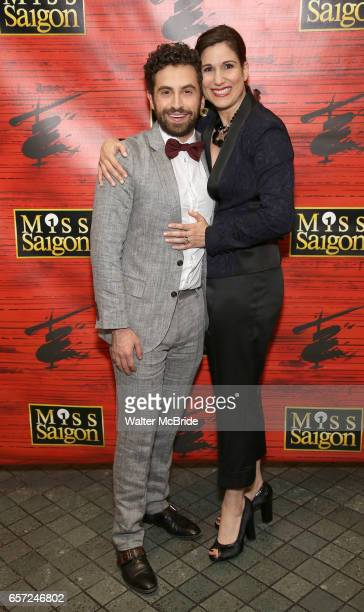 Brandon Uranowitz and Stephanie J Block attend The Opening Night of the New Broadway Production of 'Miss Saigon' at the Broadway Theatre on March 23...