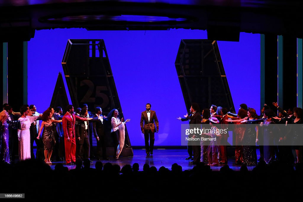 Brandon Victor Dixon (C) attends the Broadway opening night curtain call on stage for 'Motown: The Musical' at Lunt-Fontanne Theatre on April 14, 2013 in New York City.