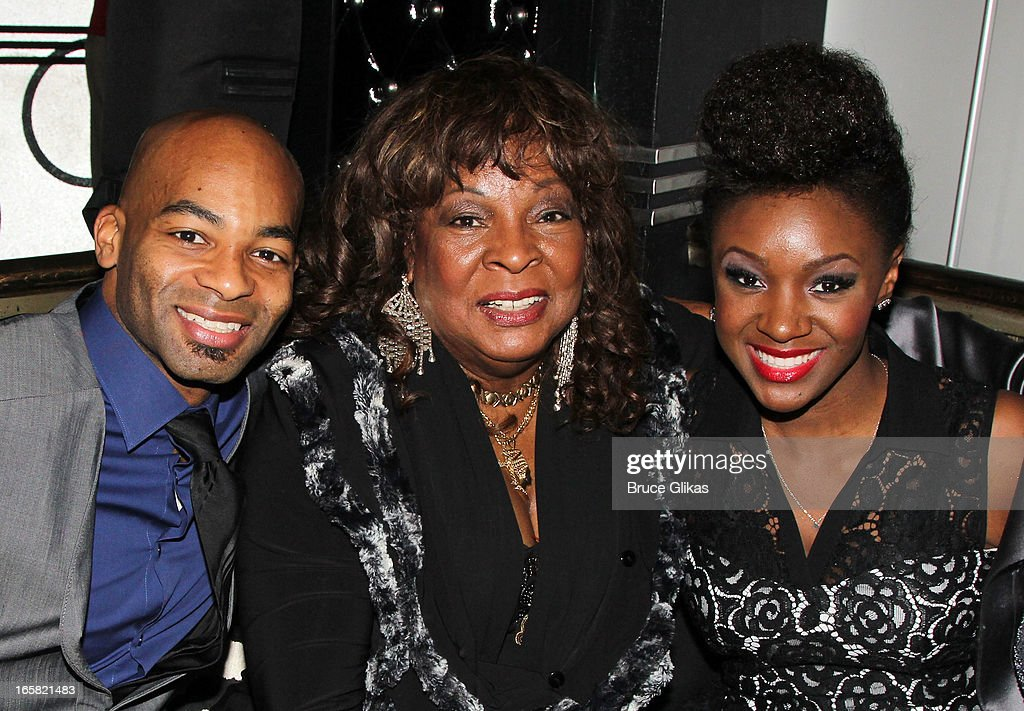 Brandon Victor Dixon Martha Reeves and Seycon Sengbloh attend the 'Motown The Musical' Motown Family Night afterparty at the Edison Ballroom on April...