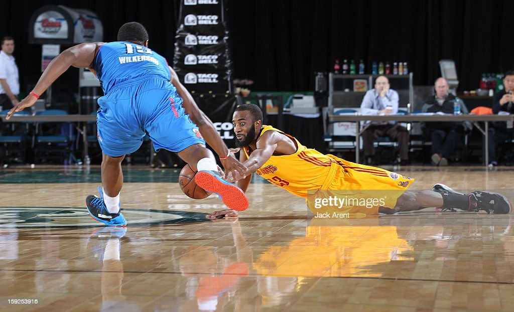Brandon Wallace #33 of the Fort Wayne Mad Ants dives for a loose ball against the Tulsa 66ers during the 2013 NBA D-League Showcase on January 10, 2013 at the Reno Events Center in Reno, Nevada.