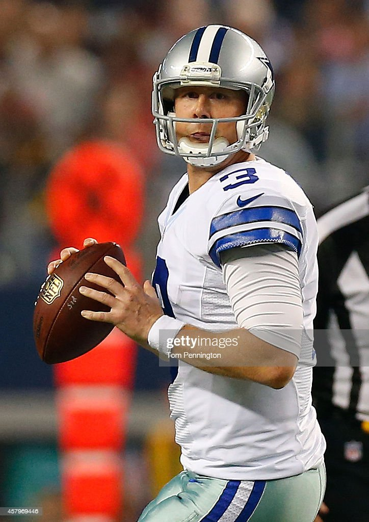 <a gi-track='captionPersonalityLinkClicked' href=/galleries/search?phrase=Brandon+Weeden&family=editorial&specificpeople=7125737 ng-click='$event.stopPropagation()'>Brandon Weeden</a> #3 of the Dallas Cowboys drops back against the Washington Redskins during the second half at AT&T Stadium on October 27, 2014 in Arlington, Texas.