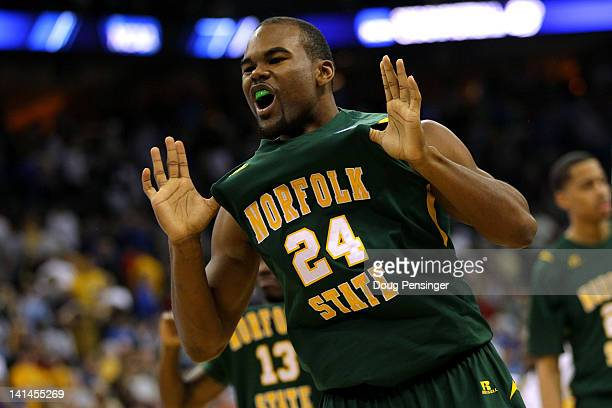 Brandon Wheeless of the Norfolk State Spartans celebrates after they won 8684 against the Missouri Tigers during the second round of the 2012 NCAA...