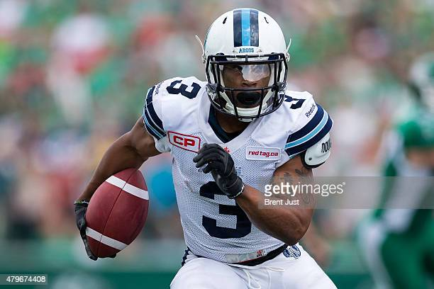 Brandon Whitaker of the Toronto Argonauts runs with the ball in the game between the Toronto Argonauts and Saskatchewan Roughriders in week 2 of the...