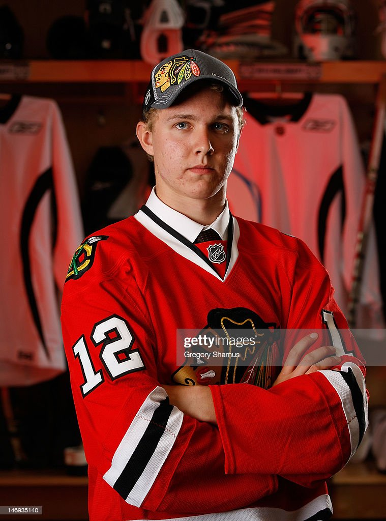 Brandon Whitney, 191st overall pick by the Chicago Blackhawks, poses for a portrait during the 2012 NHL Entry Draft at Consol Energy Center on June 23, 2012 in Pittsburgh, Pennsylvania.