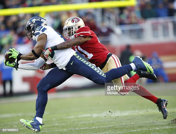 Brandon Williams of the Seattle Seahawks makes a reception during the game against the San Francisco 49ers at Levi Stadium on January 1 2017 in Santa...