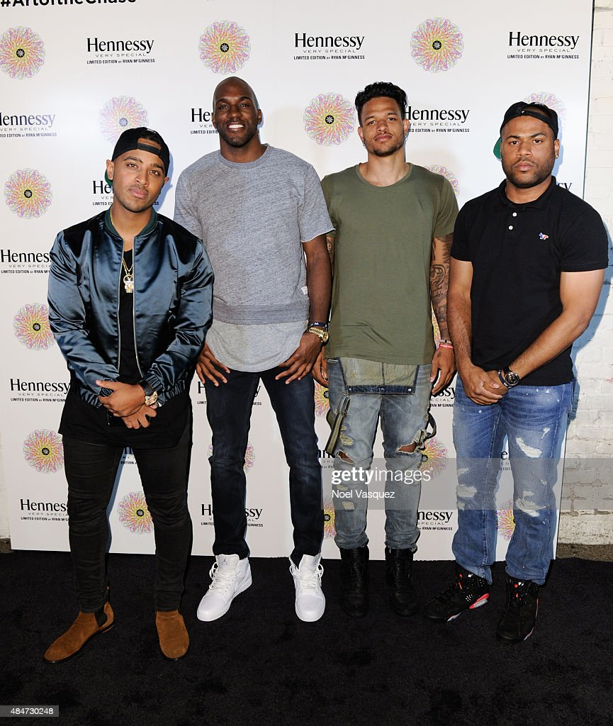 Brandon Williams, <a gi-track='captionPersonalityLinkClicked' href=/galleries/search?phrase=Quincy+Pondexter&family=editorial&specificpeople=4176540 ng-click='$event.stopPropagation()'>Quincy Pondexter</a>, <a gi-track='captionPersonalityLinkClicked' href=/galleries/search?phrase=Chris+Babb&family=editorial&specificpeople=5758599 ng-click='$event.stopPropagation()'>Chris Babb</a> and guest attend the Hennessy V.S Ryan McGinness limited edition bottle launch event at Sayer's on August 20, 2015 in Los Angeles, California.