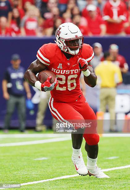 Brandon Wilson of the Houston Cougars in action during their game against the Oklahoma Sooners during the Advocare Texas Kickoff at NRG Stadium on...