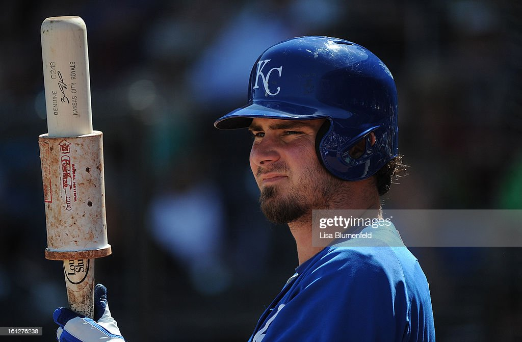 Brandon Wood #70 of the Kansas City Royals waits on deck during the game against the Chicago White Sox at Surprise Stadium on March 17, 2013 in Surprise, Arizona.