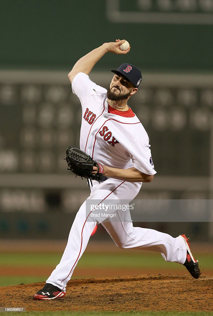 Brandon Workman #67 of the Boston Red Sox pitches in relief in the eighth inning during Game 6 of the 2013 World Series against the St. Louis Cardinals at Fenway Park on Wednesday, October 30, 2013 in Boston, Massachusetts.