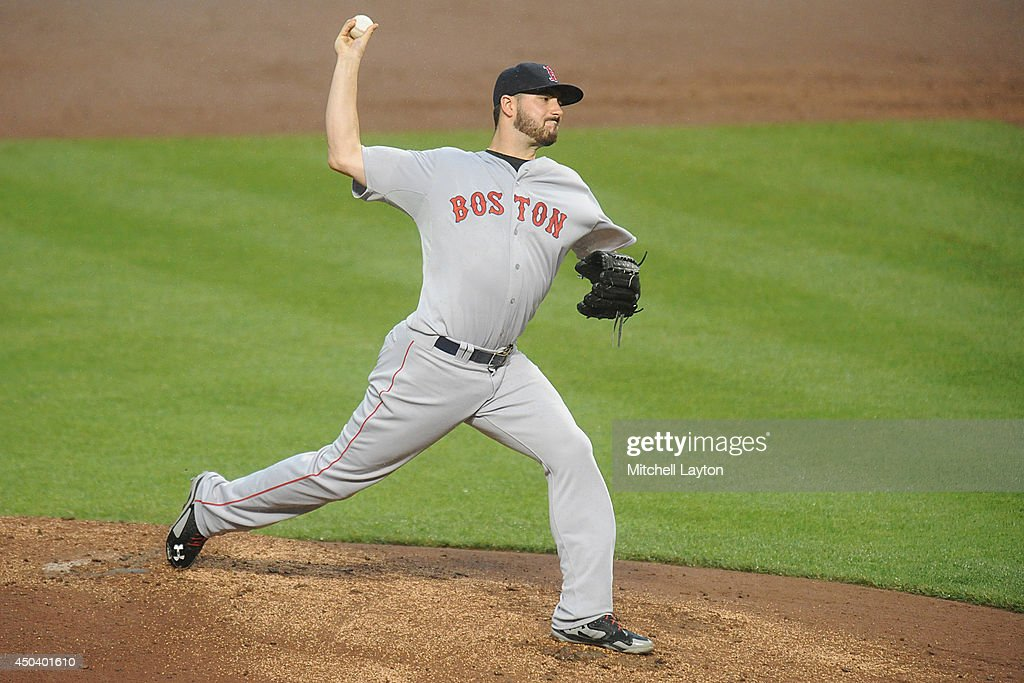 Brandon Workman #67 of the Boston Red Sox pitches in the second inning during a baseball game against the Baltimore Orioles on June 10, 2014 at Oriole Park at Camden Yards in Baltimore, Maryland.