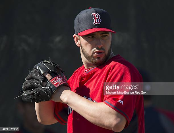 Brandon Workman of the Boston Red Sox throws during a Spring Training workout at Fenway South on February 17 2014 in Fort Myers Florida