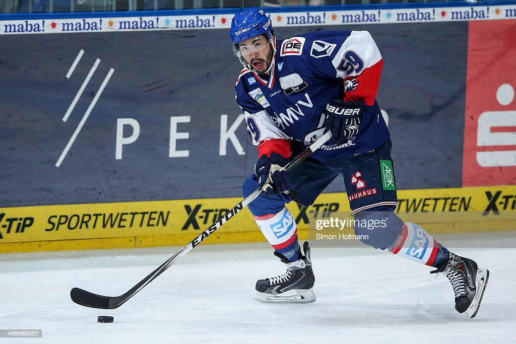 Brandon Yip of Mannheim in action during the DEL Playoffs Final Game 1 between Adler Mannheim and ERC Ingolstadt at SAP Arena on April 10 2015 in...
