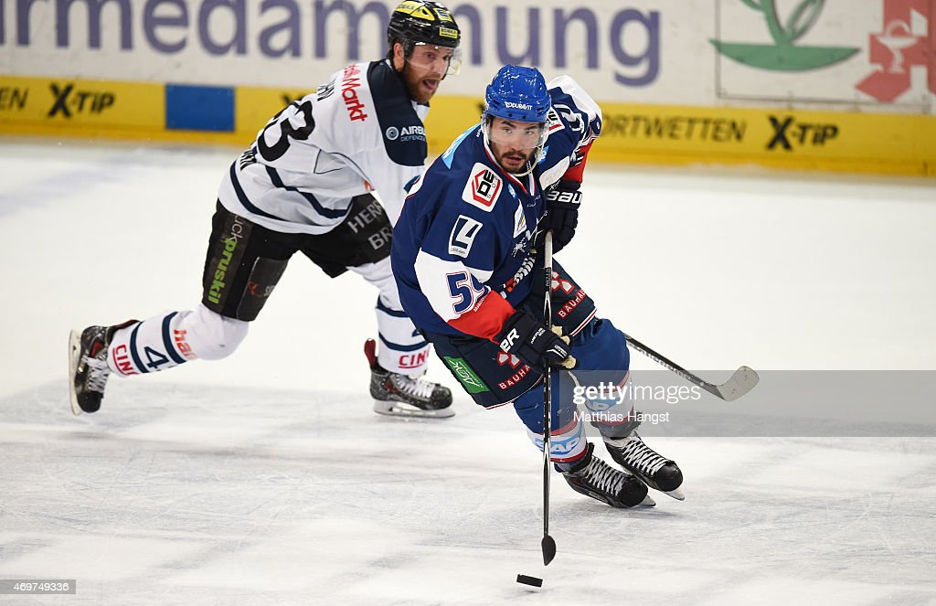 Brandon Yip of Mannheim in action during the DEL Playoffs Final Game 3 between Adler Mannheim and ERC Ingolstadt at SAP Arena on April 14 2015 in...