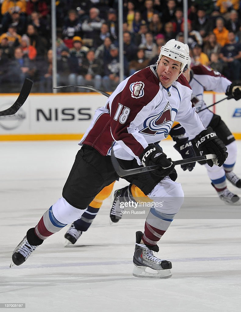 Brandon Yip of the Colorado Avalanche skates against the Nashville Predators during an NHL game at the Bridgestone Arena on January 12 2011 in...