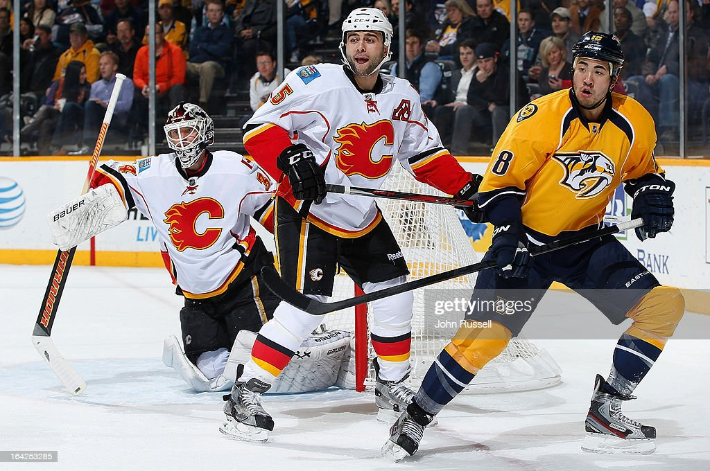 <a gi-track='captionPersonalityLinkClicked' href=/galleries/search?phrase=Brandon+Yip&family=editorial&specificpeople=817914 ng-click='$event.stopPropagation()'>Brandon Yip</a> #18 of the Nashville Predators skates against <a gi-track='captionPersonalityLinkClicked' href=/galleries/search?phrase=Mark+Giordano&family=editorial&specificpeople=696867 ng-click='$event.stopPropagation()'>Mark Giordano</a> #5 of the Calgary Flames during an NHL game at the Bridgestone Arena on March 21, 2013 in Nashville, Tennessee.