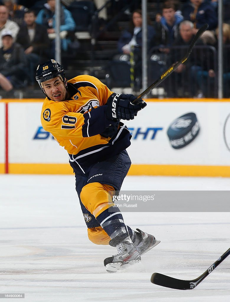 Brandon Yip of the Nashville Predators skates against the Edmonton Oilers during an NHL game at the Bridgestone Arena on March 25 2013 in Nashville...
