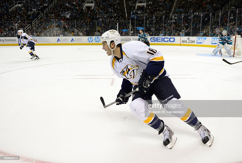 Brandon Yip of the Nashville Predators skates against the San Jose Sharks at HP Pavilion on February 2 2013 in San Jose California