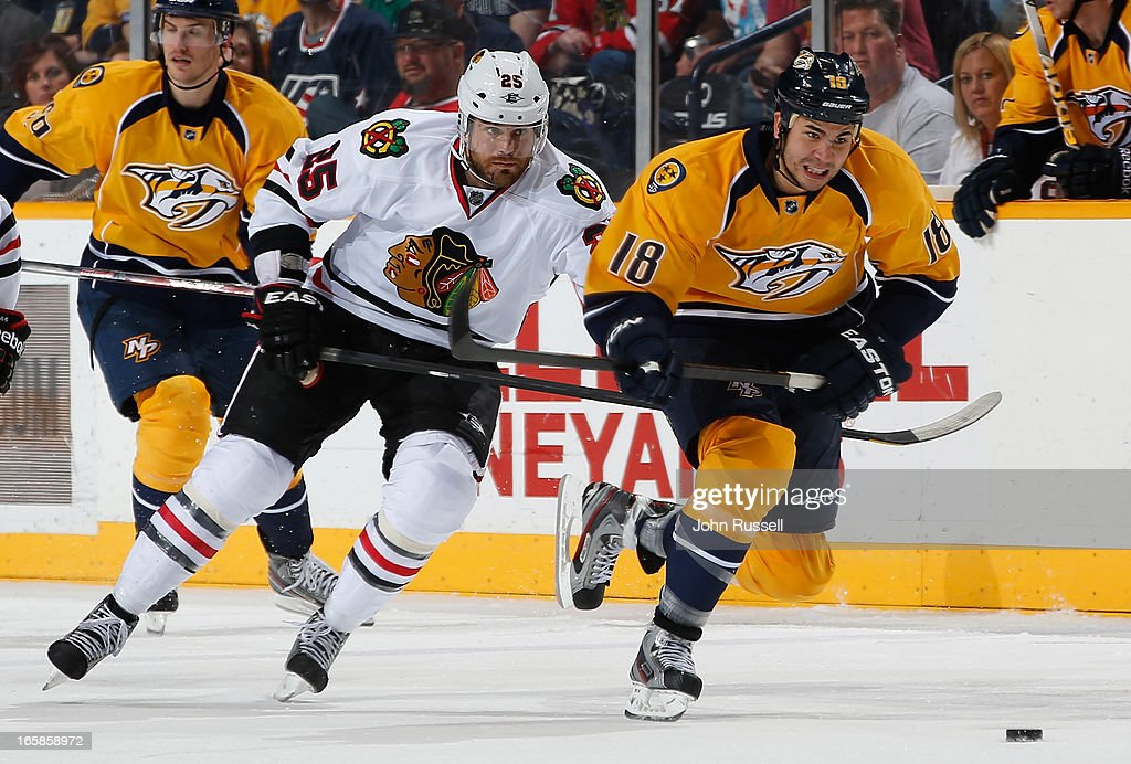 <a gi-track='captionPersonalityLinkClicked' href=/galleries/search?phrase=Brandon+Yip&family=editorial&specificpeople=817914 ng-click='$event.stopPropagation()'>Brandon Yip</a> #18 of the Nashville Predators skates against <a gi-track='captionPersonalityLinkClicked' href=/galleries/search?phrase=Viktor+Stalberg&family=editorial&specificpeople=5802237 ng-click='$event.stopPropagation()'>Viktor Stalberg</a> #25 of the Chicago Blackhawks during an NHL game at the Bridgestone Arena on April 6, 2013 in Nashville, Tennessee.