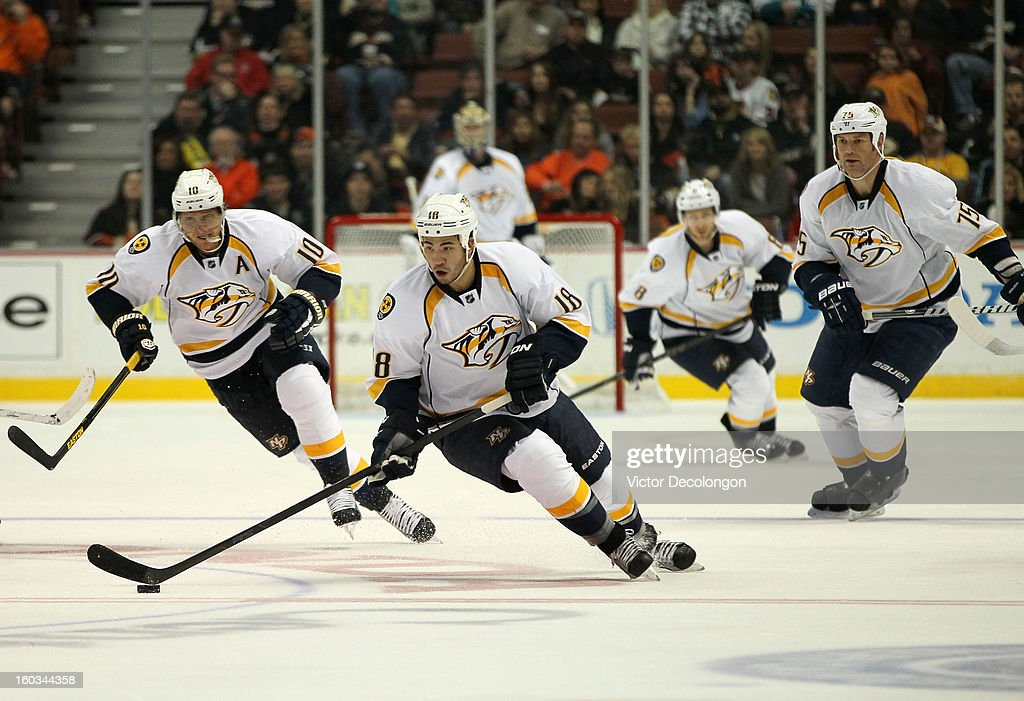 Brandon Yip of the Nashville Predators skates the puck through the neutral zone during the NHL game against the Anaheim Ducks at Honda Center on...
