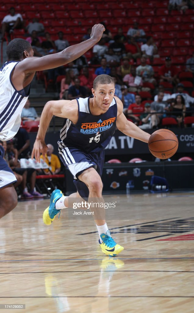 BrandonTriche #19 of the Charlotte Bobcats drives up court during NBA Summer League game between the D League Select and the Charlotte Bobcats on July 20, 2013 at the Thomas and Mack Center Center in Las Vegas, Nevada.